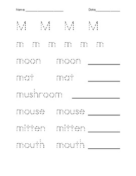 Letter M Tracing and Quiz