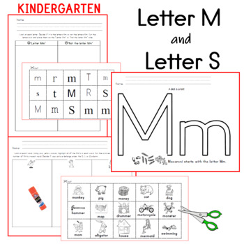 Letter M and Letter S Activities and Word Work
