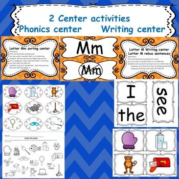 Letter M: Emerngent readers/ centers/ worksheet