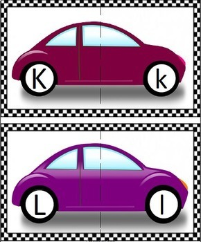 """""""Letter Match!""""   Game for Upper Case and Lower Case Letters - Cars"""
