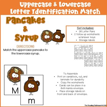 Letter Match  Identification & Recognition  - Pancakes & Syrup