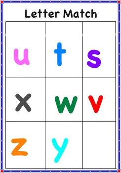 Letter Match Lowercase Letters A-Z