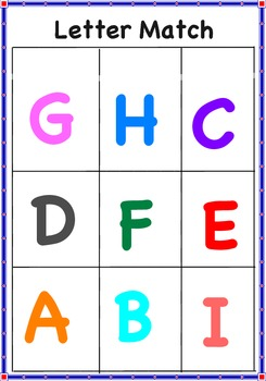 Letter Match Uppercase Letters A-I