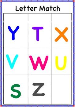Letter Match Uppercase Letters S-Z