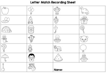 Letter Match - upper and lower case letters - Victorian Modern Cursive