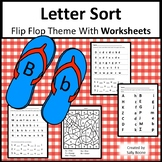 Letter Match with Worksheets - Flip Flop Theme