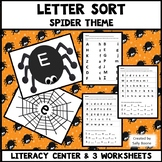 Letter Match with Worksheets - Spider with Web Theme