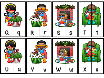 Letter Matching Aa-Zz And Ten Frame Number Matching 1-20 Superhero Christmas