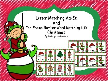 Letter Matching Aa-Zz and Ten Frames, Number Word Match 1-10 (Christmas)