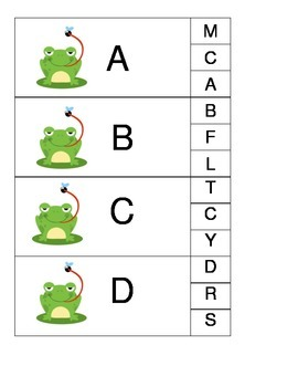 Letter Matching Frogs Clothespin Game
