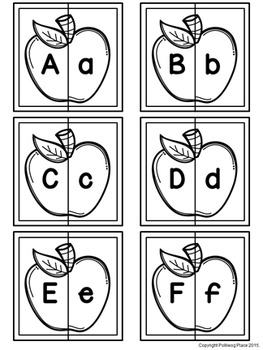 Letter Matching Puzzles - Apples {Uppercase and Lowercase Letters}