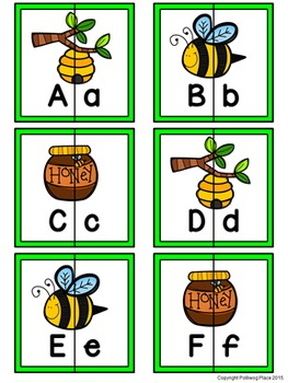 Letter Matching Puzzles - Bees {Uppercase and Lowercase Letters}