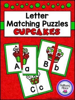 Letter Matching Puzzles - Christmas Cupcakes {Uppercase and Lowercase Letters}