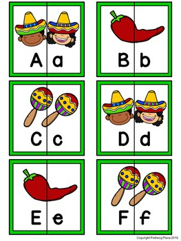 Letter Matching Puzzles - Cinco de Mayo {Uppercase and Lowercase Letters}
