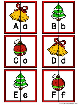 Letter Matching Puzzles - Deck the Halls {Uppercase and Lowercase Letters}