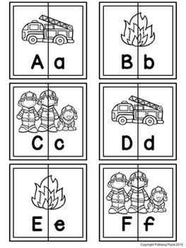 Letter Matching Puzzles - Fire Crew {Uppercase and Lowercase Letters}