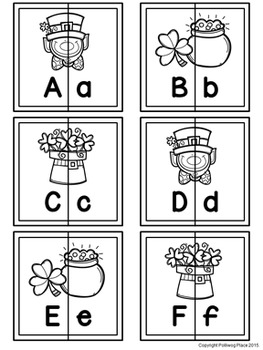 Letter Matching Puzzles - Leprechauns {Uppercase and Lowercase Letters}