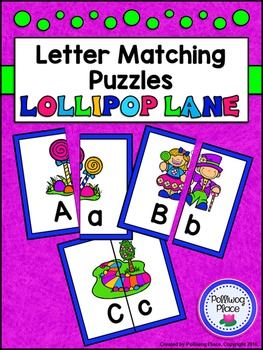Letter Matching Puzzles - Lollipop Lane {Uppercase and Lowercase Letters}