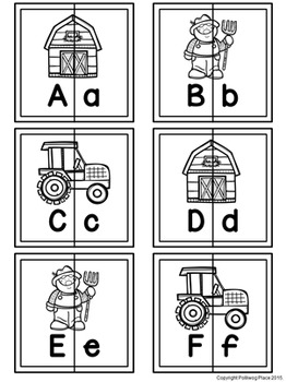 Letter Matching Puzzles - On the Farm {Uppercase and Lowercase Letters}