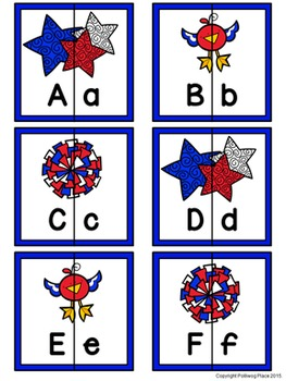 Letter Matching Puzzles - Patriotic {Uppercase and Lowercase Letters}