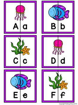 Letter Matching Puzzles - Sea Life {Uppercase and Lowercase Letters}