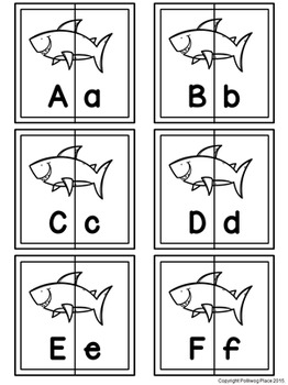 Letter Matching Puzzles - Sharks {Uppercase and Lowercase Letters}