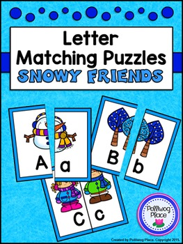 Letter Matching Puzzles - Snowy Friends {Uppercase and Low