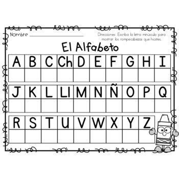 Letter Matching Puzzles - Spanish Back to School