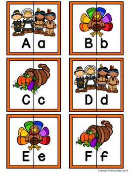 Letter Matching Puzzles - Thanksgiving {Uppercase and Lowercase Letters}
