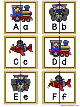Letter Matching Puzzles - Transportation {Uppercase and Lowercase Letters}