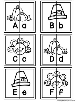 Letter Matching Puzzles - Turkey Time {Uppercase and Lowercase Letters}