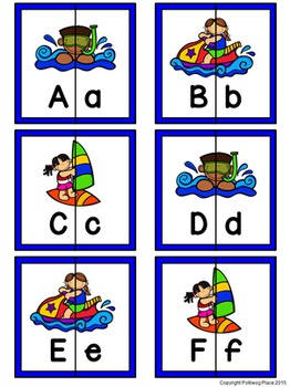 Letter Matching Puzzles - Water Fun {Uppercase and Lowercase Letters}