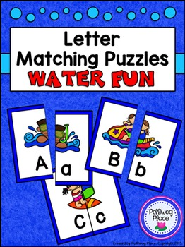 Letter Matching Puzzles - Water Fun {Uppercase and Lowerca