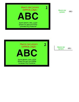 Letter Matching, Upper & Lower Case Letters