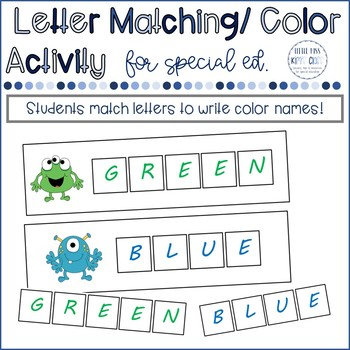 Letter Matching with Colors- Math / Literacy Center or Task Box