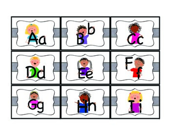 Letter Matching/Memory Game in Color and Black and White