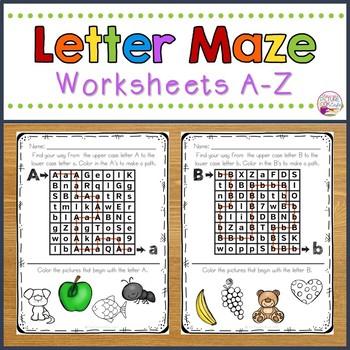 Letter Maze Worksheets A-Z
