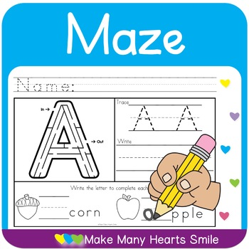 Letter Maze and Handwriting Worksheets