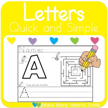Upper Case Letter Maze and Handwriting Worksheets