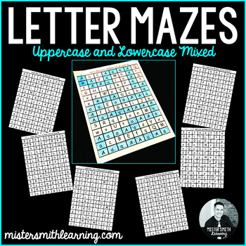 Letter Mazes. Uppercase and Lowercase Mixed.