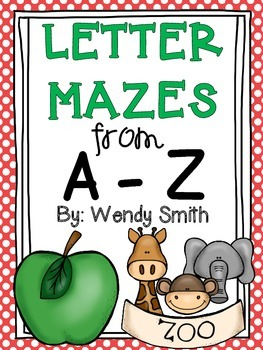 Letter Mazes from A-Z {Common Core ELA RF.K.1.D}