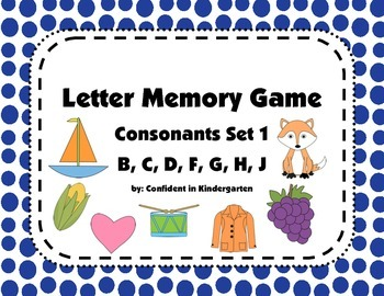 Letter Memory Game Consonant Pack 1: Letters B, C, D, F, G, H, and J