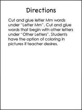 Letter Mm Beginning Sound Sort/Phonemic Awareness