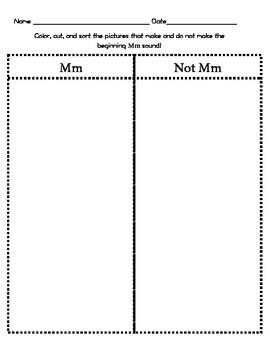 Letter Mm Beginning Sound Sort/Phonemic Awareness
