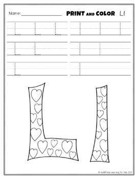 Letter Ll Printing and Pattern Coloring Worksheets