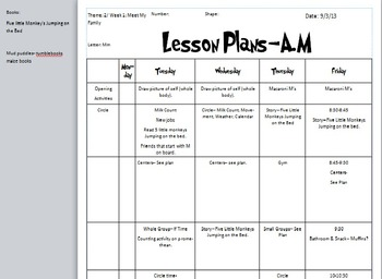 Letter Mm Week lesson plan Five little Monkey's Jumping on