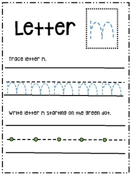 Letter Mm activity worksheet printable trace & write (lowercase)