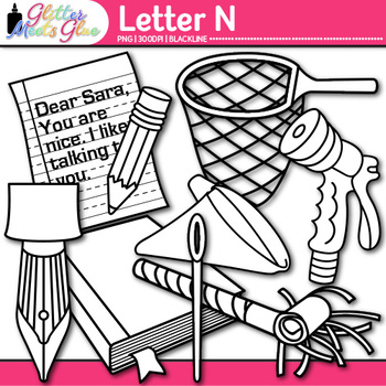 Letter N Alphabet Clip Art {Teach Phonics, Recognition, and Identification} B&W