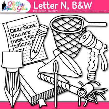 Letter N Alphabet Clip Art Line Art- Letter Recognition, I