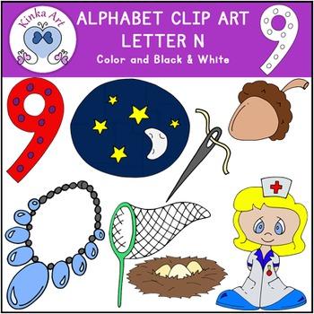 Letter N Clip Art {Beginning Sounds} Alphabet